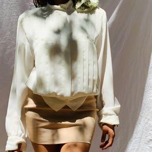 Liz Clairbone Elegant Vintage Plaid Blouse